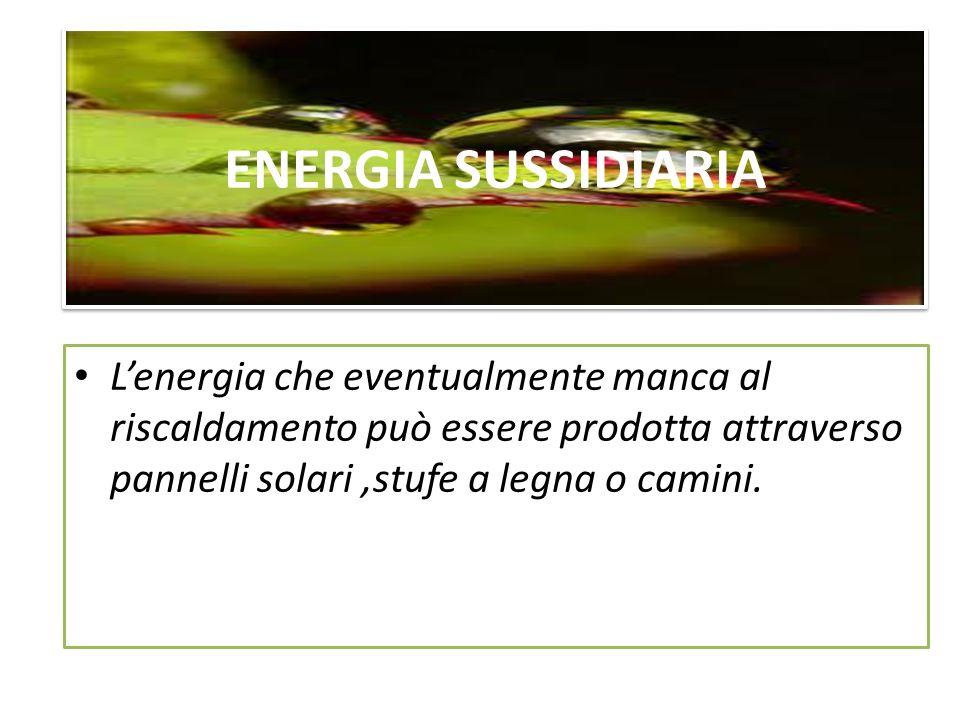 ENERGIA SUSSIDIARIA L'energia che eventualmente manca al riscaldamento può essere prodotta attraverso pannelli solari ,stufe a legna o camini.