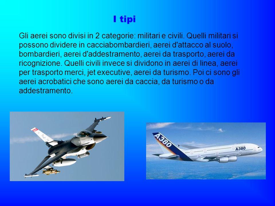 Gli aerei sono divisi in 2 categorie: militari e civili