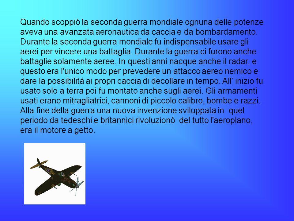 Quando scoppiò la seconda guerra mondiale ognuna delle potenze aveva una avanzata aeronautica da caccia e da bombardamento.