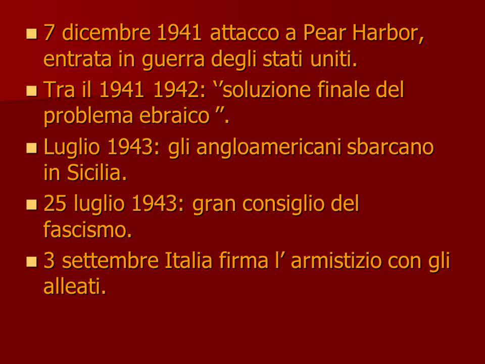 7 dicembre 1941 attacco a Pear Harbor, entrata in guerra degli stati uniti.