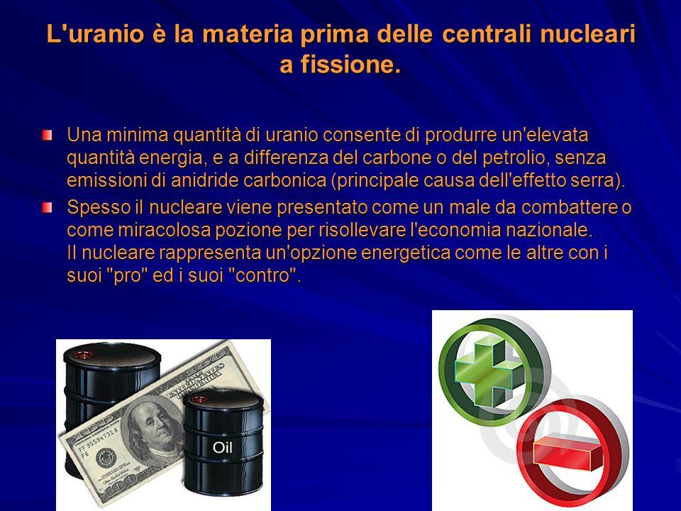 L uranio è la materia prima delle centrali nucleari a fissione.