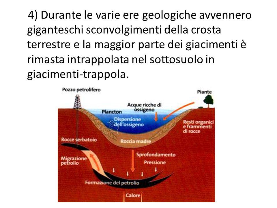 4) Durante le varie ere geologiche avvennero giganteschi sconvolgimenti della crosta terrestre e la maggior parte dei giacimenti è rimasta intrappolata nel sottosuolo in giacimenti-trappola.