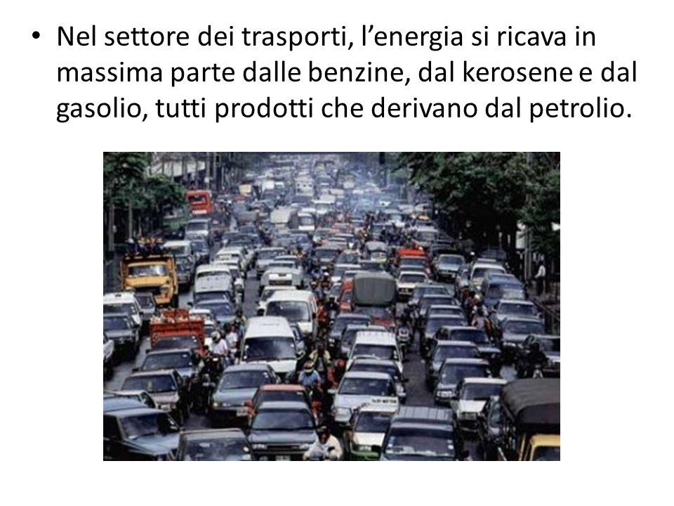 Nel settore dei trasporti, l'energia si ricava in massima parte dalle benzine, dal kerosene e dal gasolio, tutti prodotti che derivano dal petrolio.