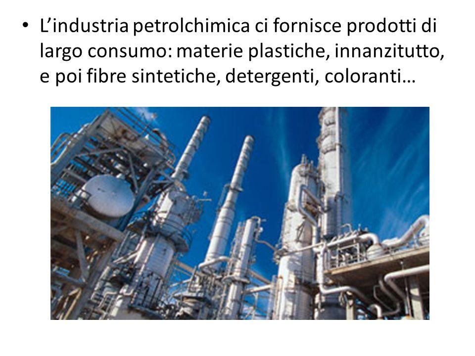L'industria petrolchimica ci fornisce prodotti di largo consumo: materie plastiche, innanzitutto, e poi fibre sintetiche, detergenti, coloranti…