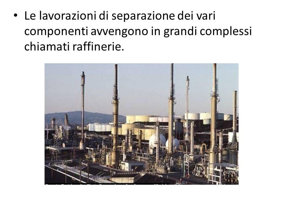 Le lavorazioni di separazione dei vari componenti avvengono in grandi complessi chiamati raffinerie.