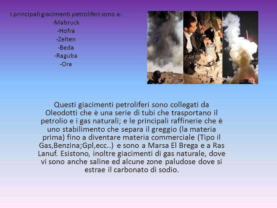 I principali giacimenti petroliferi sono a: -Mabruck -Hofra -Zelten -Beda -Raguba -Ora