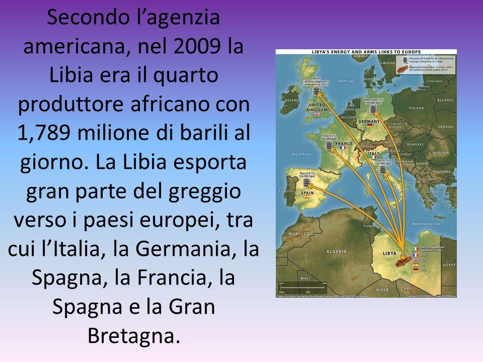Secondo l'agenzia americana, nel 2009 la Libia era il quarto produttore africano con 1,789 milione di barili al giorno.