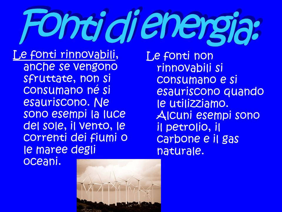Fonti di energia:
