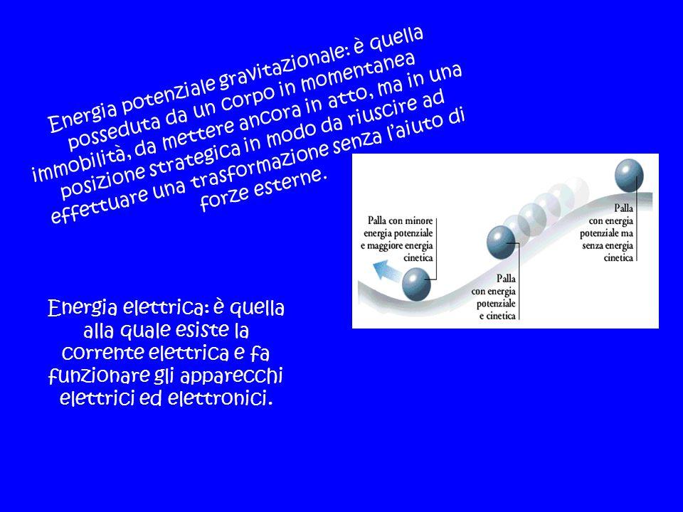 Energia potenziale gravitazionale: è quella posseduta da un corpo in momentanea immobilità, da mettere ancora in atto, ma in una posizione strategica in modo da riuscire ad effettuare una trasformazione senza l'aiuto di forze esterne.