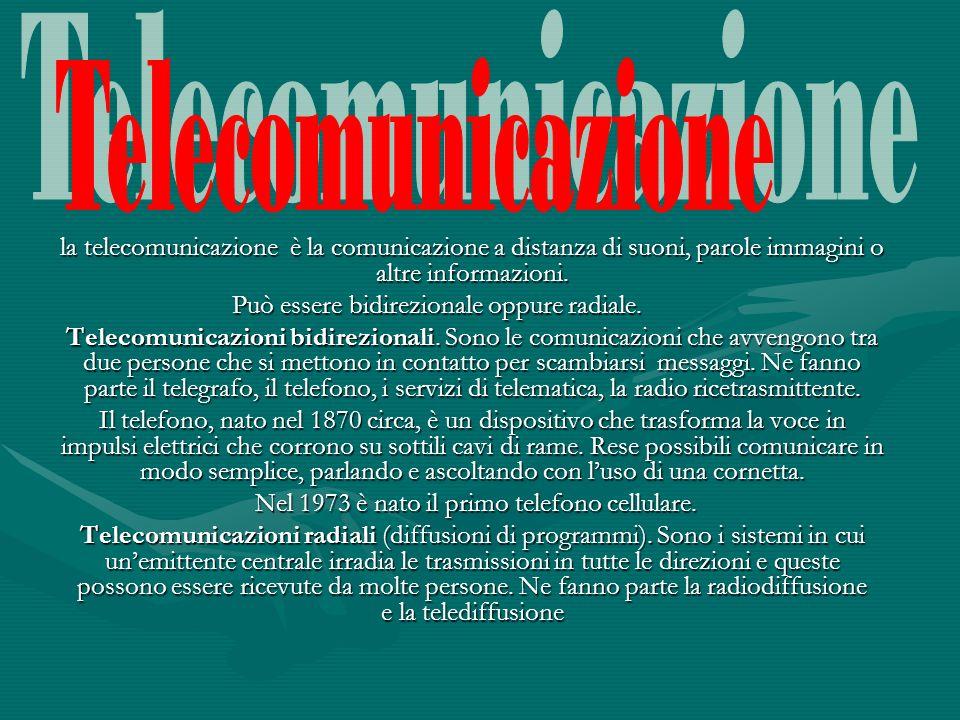Telecomunicazione la telecomunicazione è la comunicazione a distanza di suoni, parole immagini o altre informazioni.