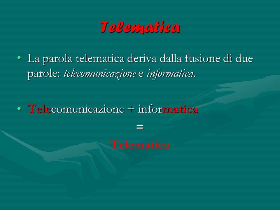Telematica La parola telematica deriva dalla fusione di due parole: telecomunicazione e informatica.
