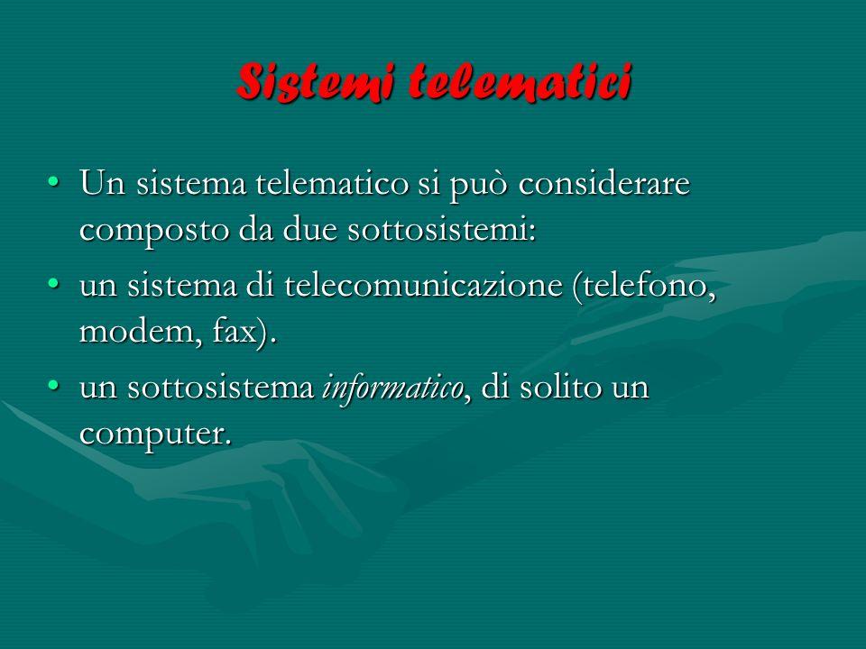 Sistemi telematici Un sistema telematico si può considerare composto da due sottosistemi: un sistema di telecomunicazione (telefono, modem, fax).
