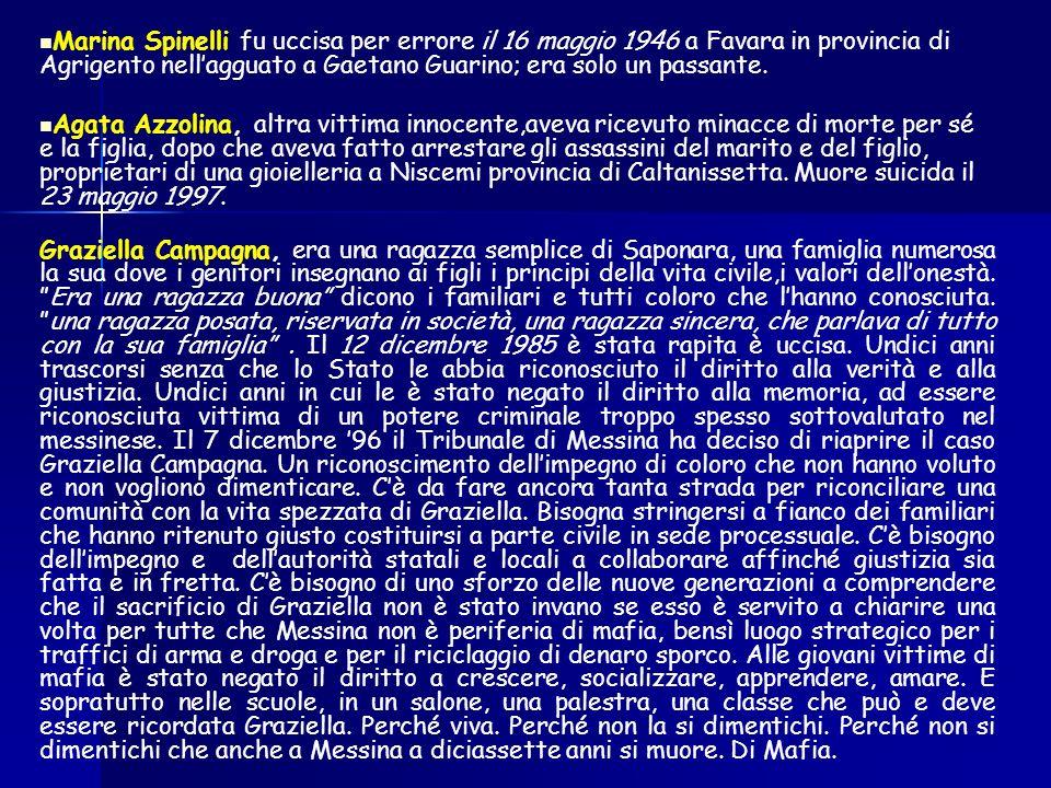 Marina Spinelli fu uccisa per errore il 16 maggio 1946 a Favara in provincia di Agrigento nell'agguato a Gaetano Guarino; era solo un passante.