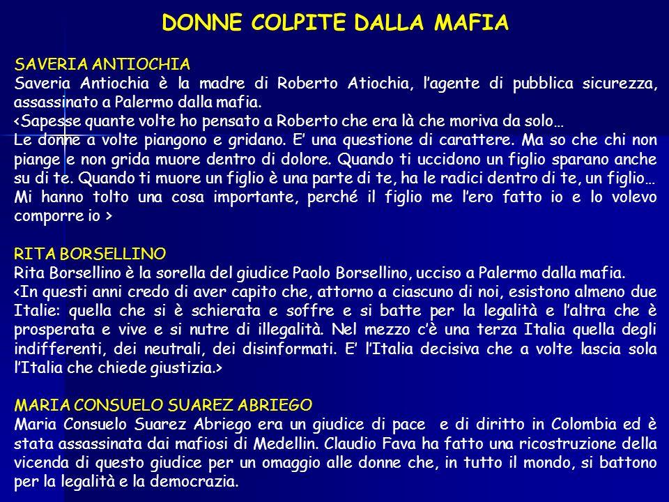 DONNE COLPITE DALLA MAFIA