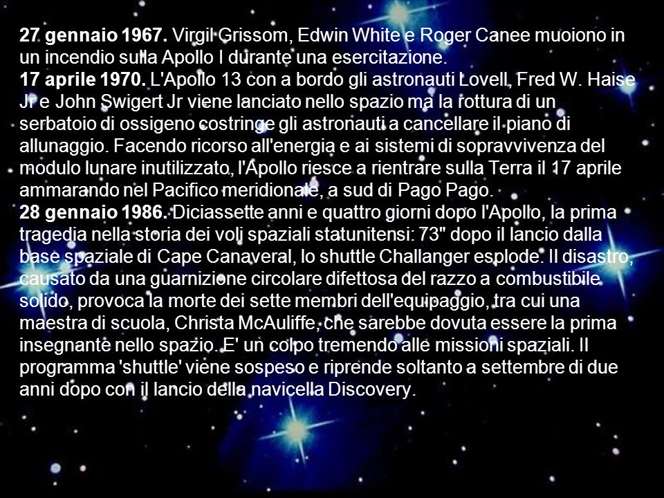 27 gennaio 1967. Virgil Grissom, Edwin White e Roger Canee muoiono in