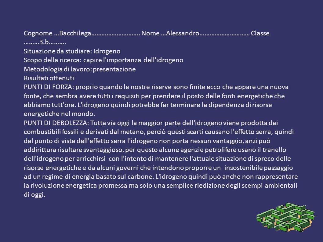 Cognome …Bacchilega………………………. Nome …Alessandro………………………… Classe ………3
