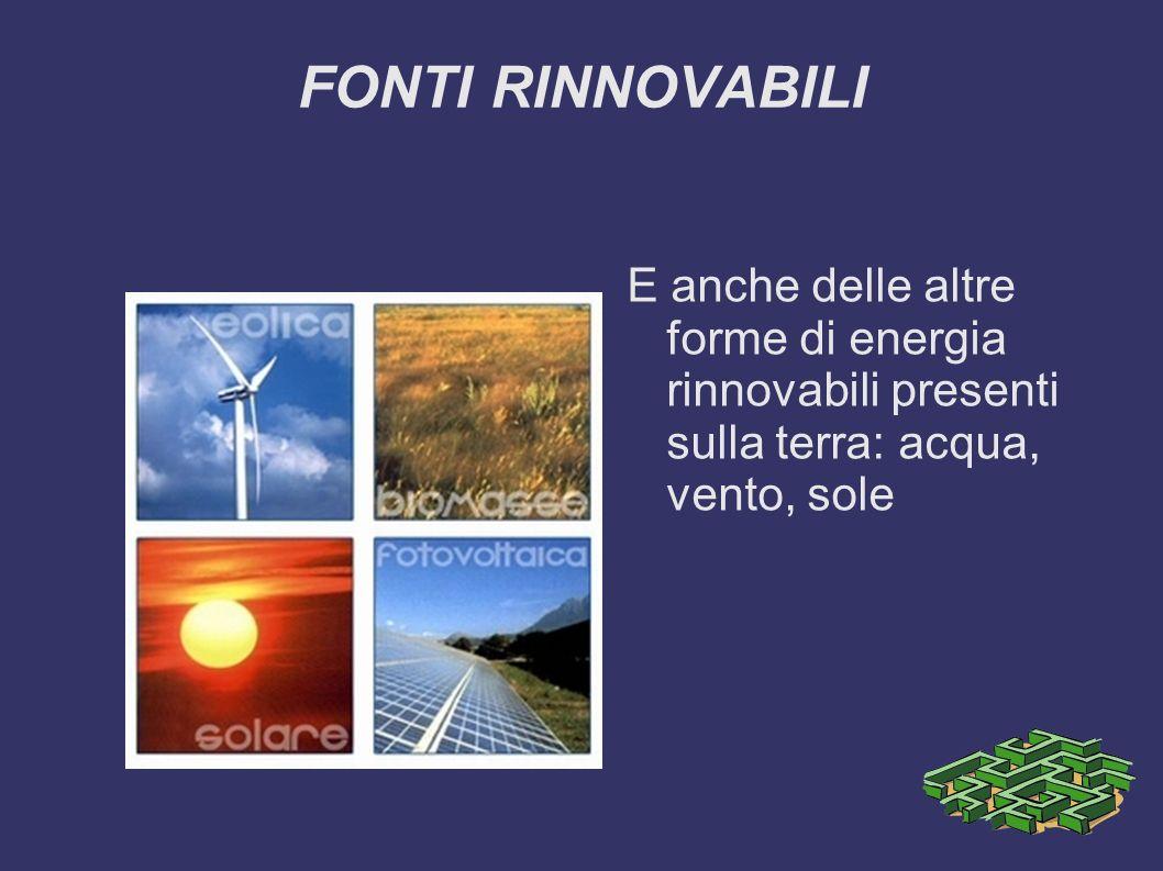 FONTI RINNOVABILI E anche delle altre forme di energia rinnovabili presenti sulla terra: acqua, vento, sole.