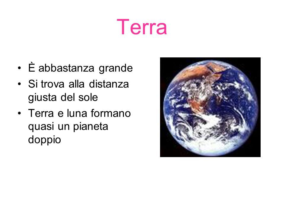 Terra È abbastanza grande Si trova alla distanza giusta del sole