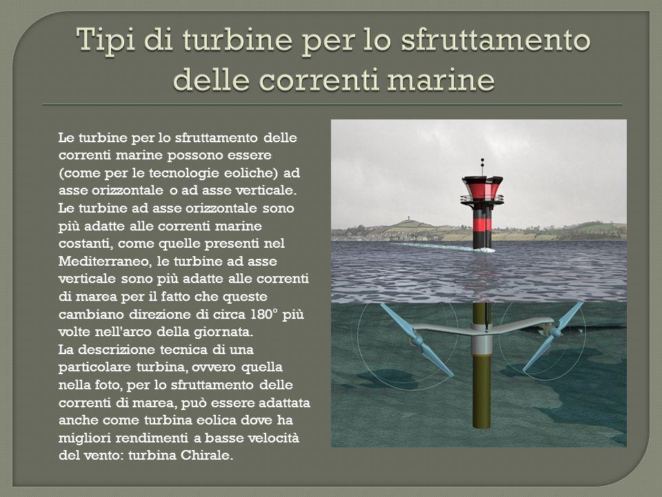 Tipi di turbine per lo sfruttamento delle correnti marine