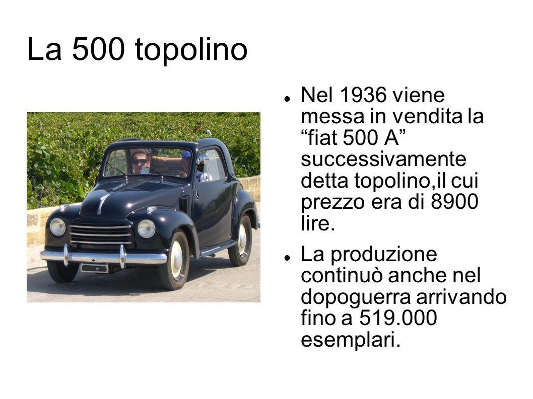 La 500 topolino Nel 1936 viene messa in vendita la fiat 500 A successivamente detta topolino,il cui prezzo era di 8900 lire.