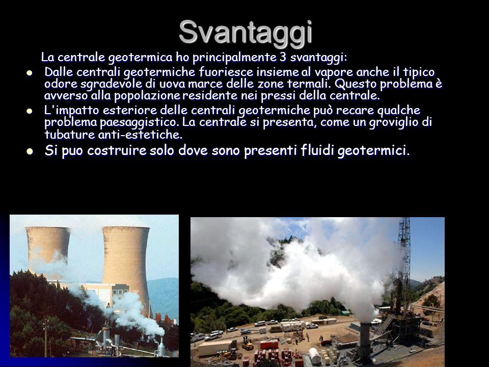 Svantaggi La centrale geotermica ho principalmente 3 svantaggi: