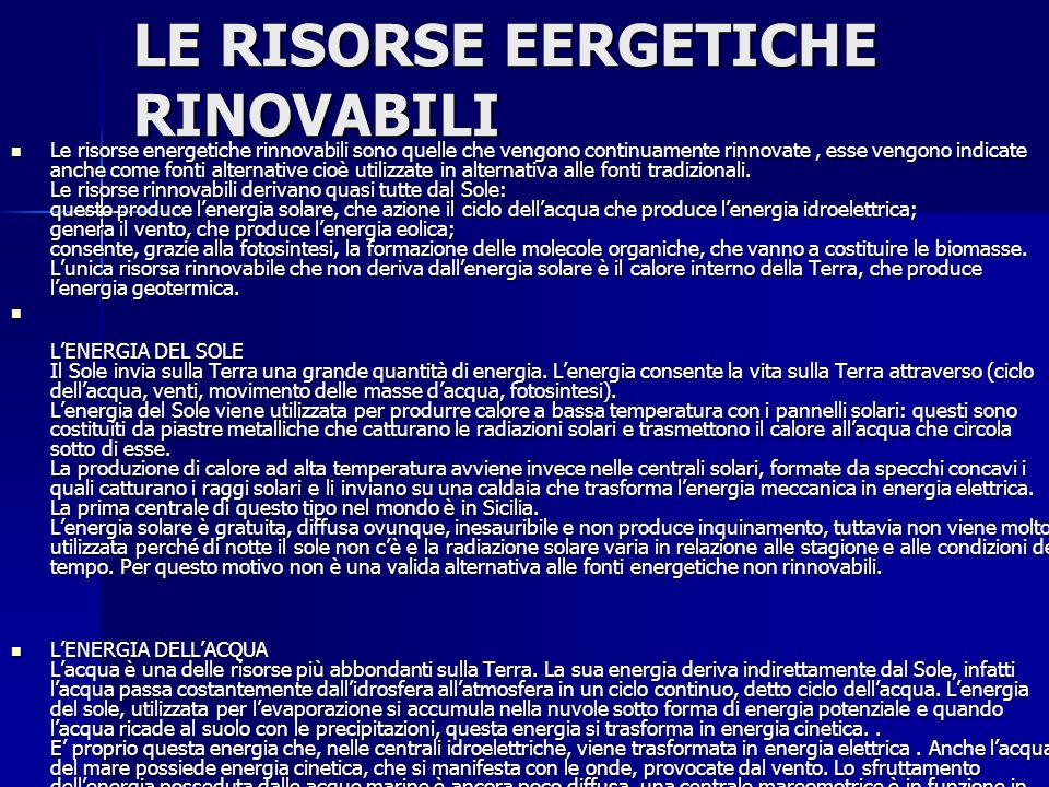 LE RISORSE EERGETICHE RINOVABILI