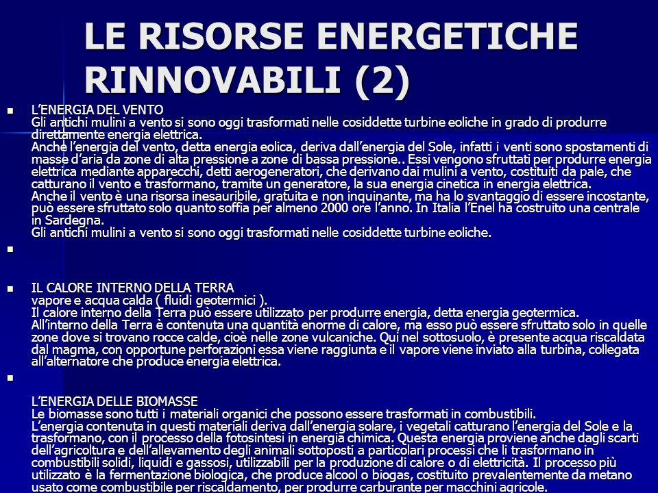 LE RISORSE ENERGETICHE RINNOVABILI (2)