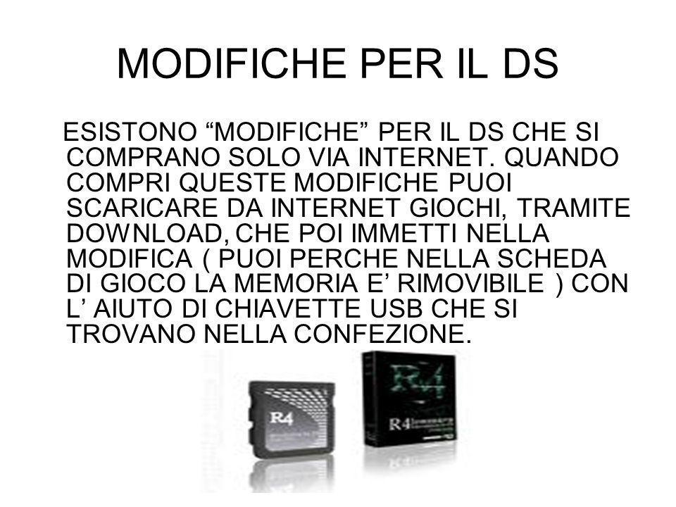 MODIFICHE PER IL DS
