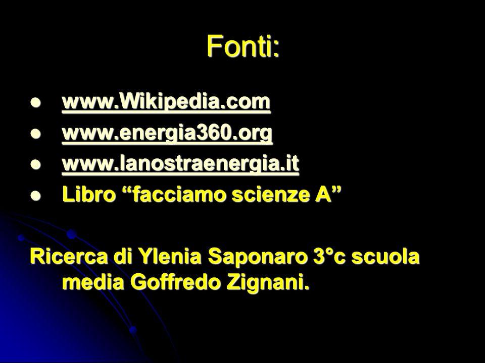 Fonti: www.Wikipedia.com www.energia360.org www.lanostraenergia.it