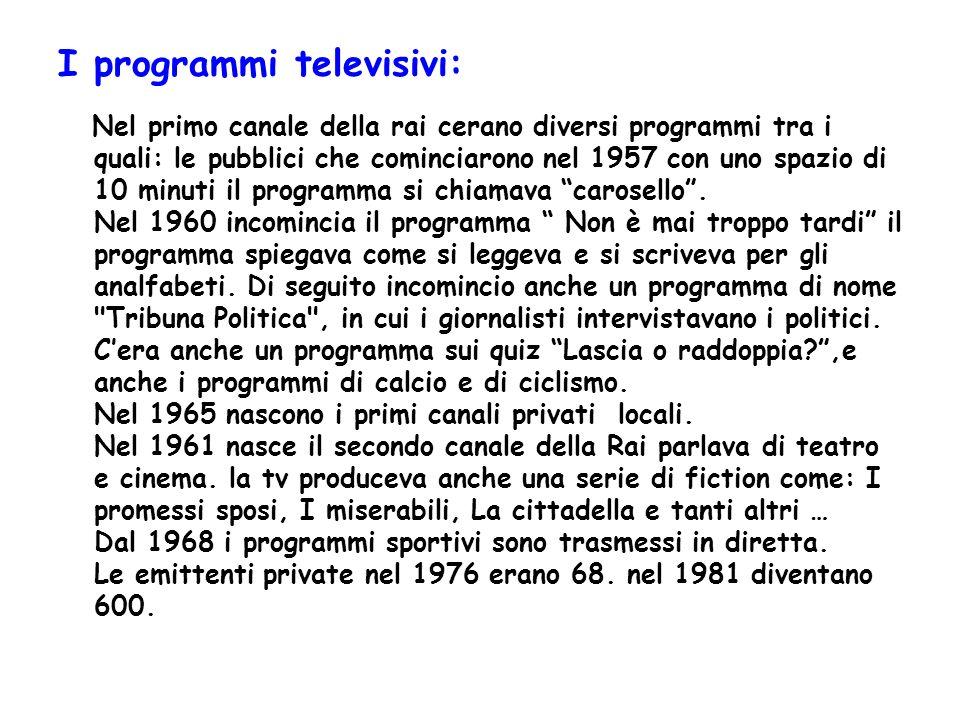 I programmi televisivi: