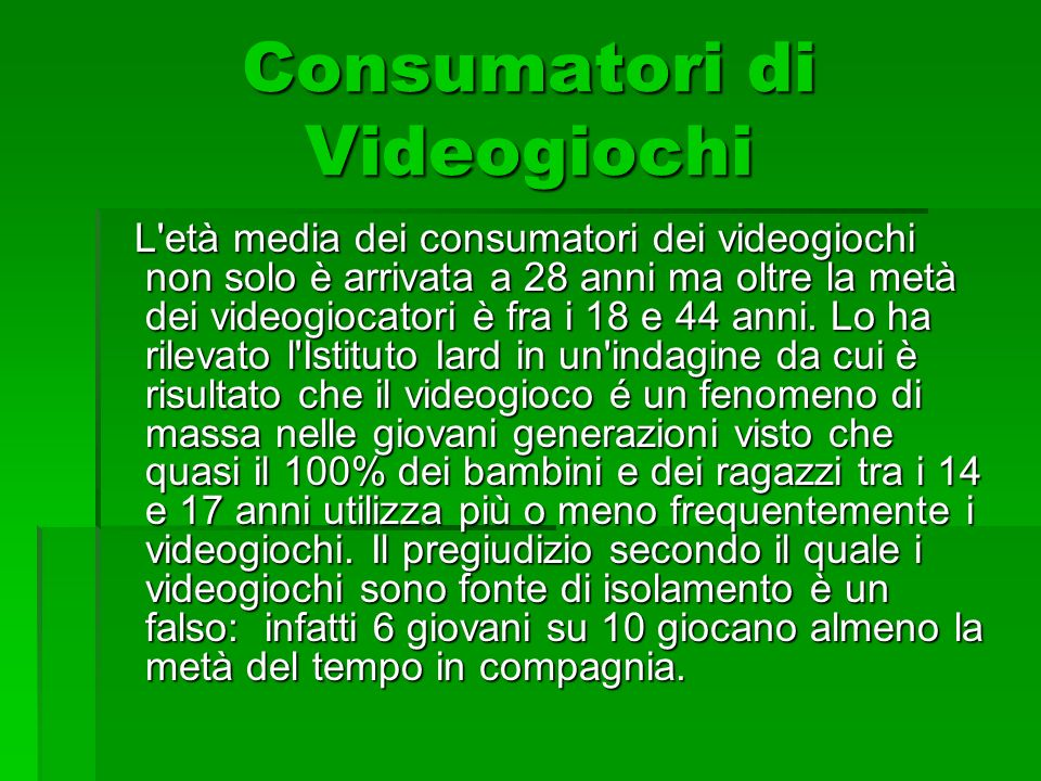 Consumatori di Videogiochi