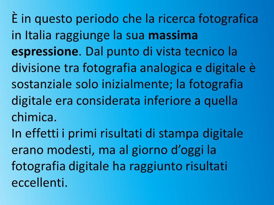 È in questo periodo che la ricerca fotografica in Italia raggiunge la sua massima espressione. Dal punto di vista tecnico la divisione tra fotografia analogica e digitale è sostanziale solo inizialmente; la fotografia digitale era considerata inferiore a quella chimica.