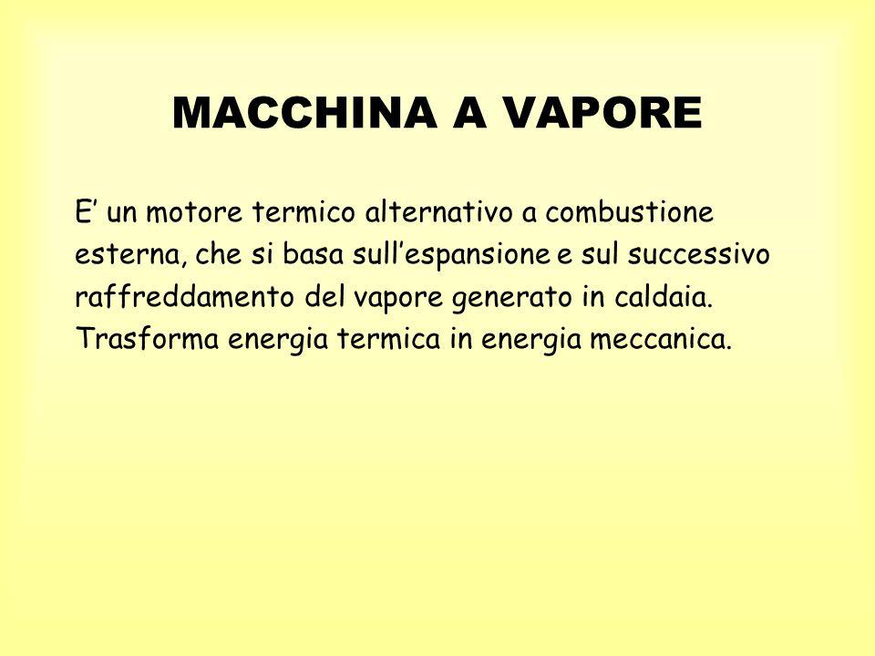 MACCHINA A VAPORE E' un motore termico alternativo a combustione