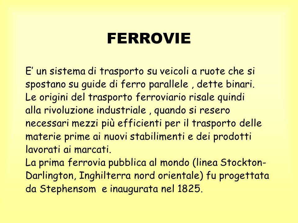 FERROVIE E' un sistema di trasporto su veicoli a ruote che si