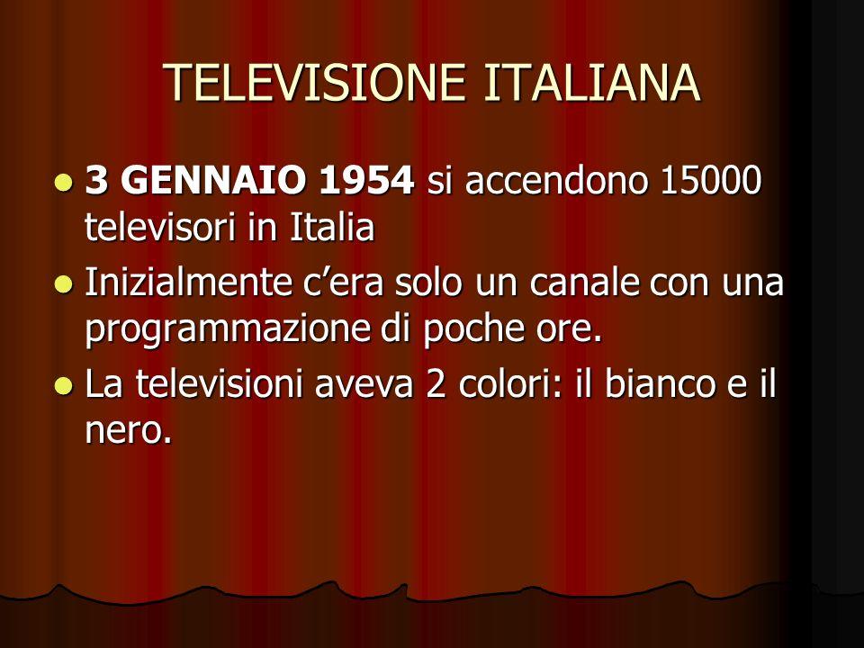 TELEVISIONE ITALIANA 3 GENNAIO 1954 si accendono 15000 televisori in Italia. Inizialmente c'era solo un canale con una programmazione di poche ore.