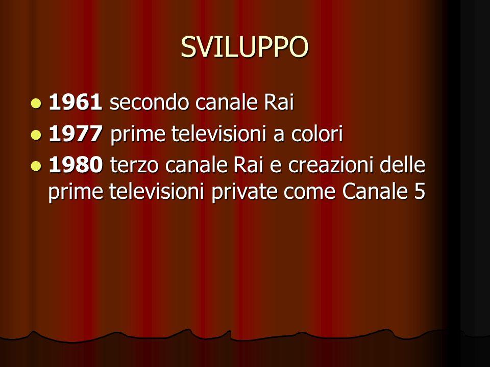 SVILUPPO 1961 secondo canale Rai 1977 prime televisioni a colori