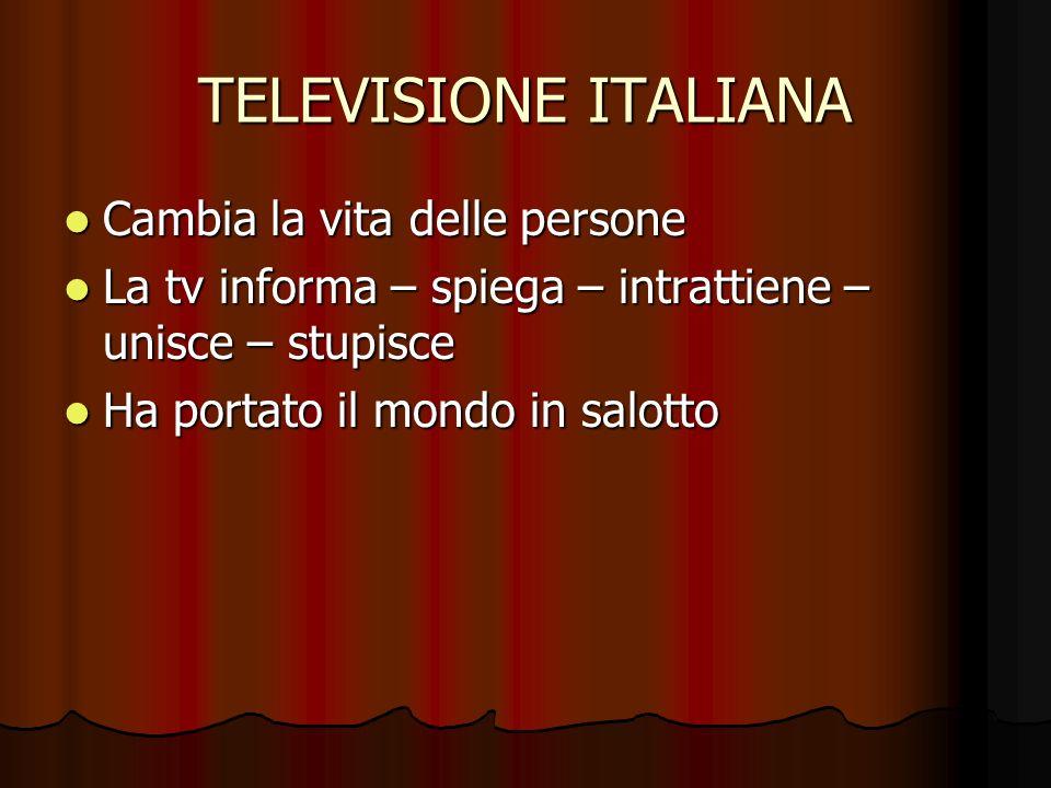 TELEVISIONE ITALIANA Cambia la vita delle persone