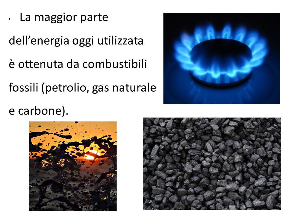La maggior parte dell'energia oggi utilizzata. è ottenuta da combustibili. fossili (petrolio, gas naturale.