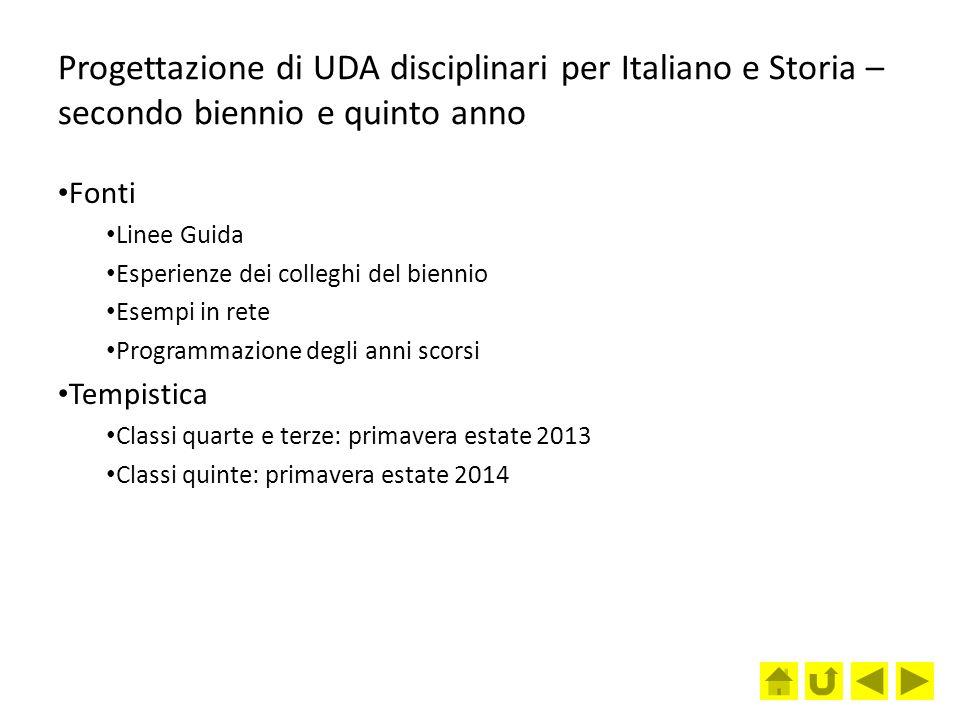 Progettazione di UDA disciplinari per Italiano e Storia – secondo biennio e quinto anno