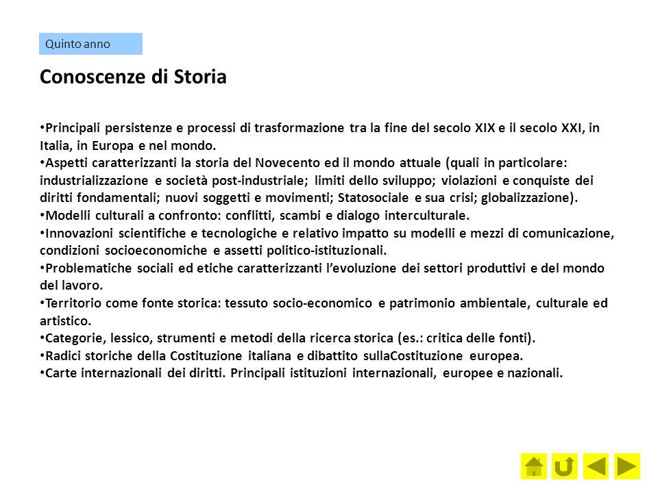 Quinto anno Conoscenze di Storia.