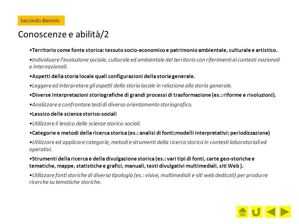 Conoscenze e abilità/2 Secondo Biennio