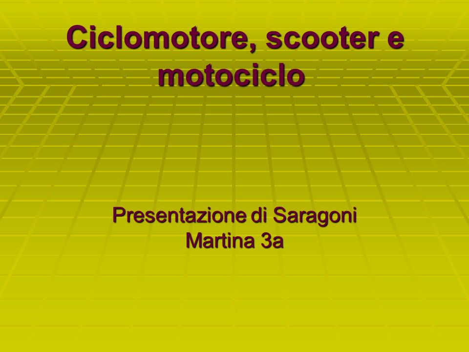 Ciclomotore, scooter e motociclo