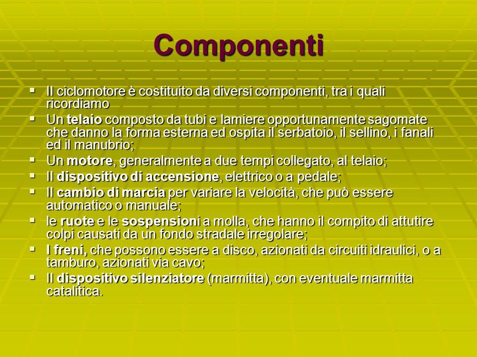 Componenti Il ciclomotore è costituito da diversi componenti, tra i quali ricordiamo.