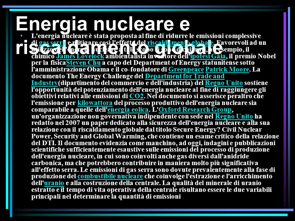 Energia nucleare e riscaldamento globale