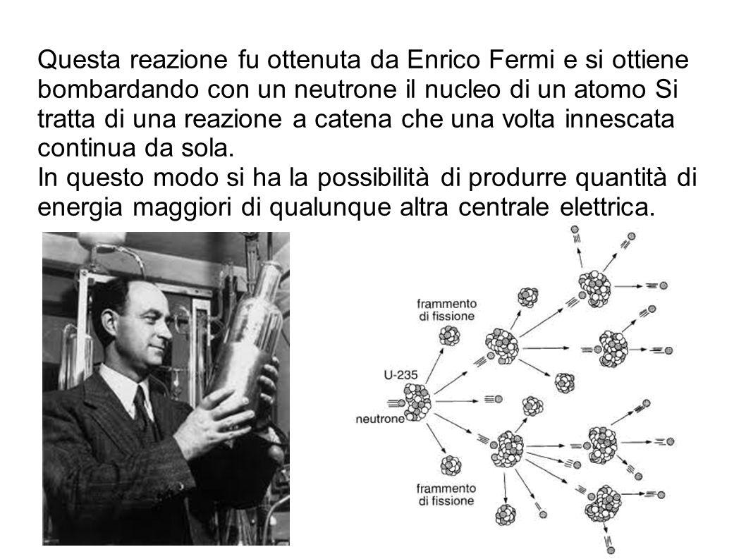 Questa reazione fu ottenuta da Enrico Fermi e si ottiene bombardando con un neutrone il nucleo di un atomo Si tratta di una reazione a catena che una volta innescata continua da sola.