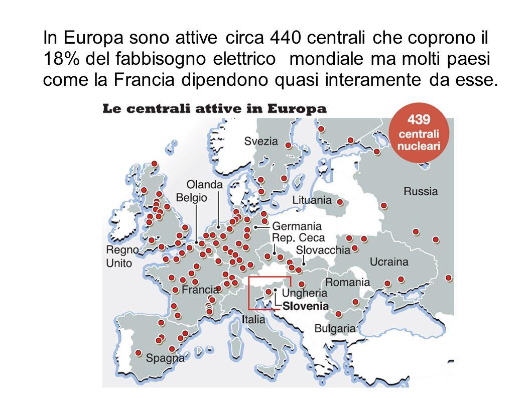 In Europa sono attive circa 440 centrali che coprono il 18% del fabbisogno elettrico mondiale ma molti paesi come la Francia dipendono quasi interamente da esse.