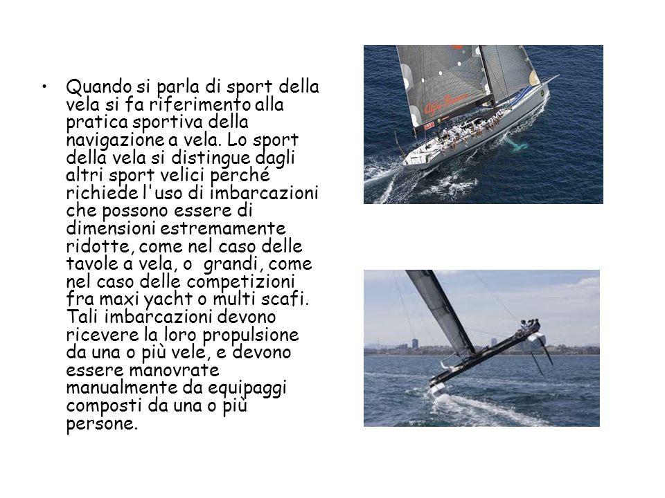 Quando si parla di sport della vela si fa riferimento alla pratica sportiva della navigazione a vela.