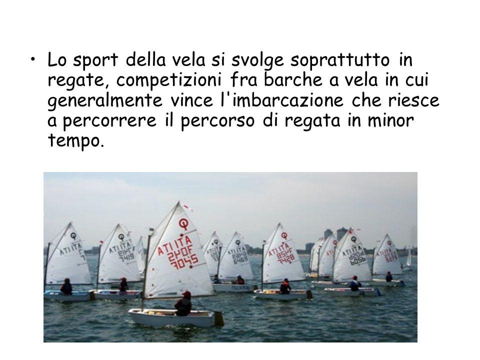 Lo sport della vela si svolge soprattutto in regate, competizioni fra barche a vela in cui generalmente vince l imbarcazione che riesce a percorrere il percorso di regata in minor tempo.
