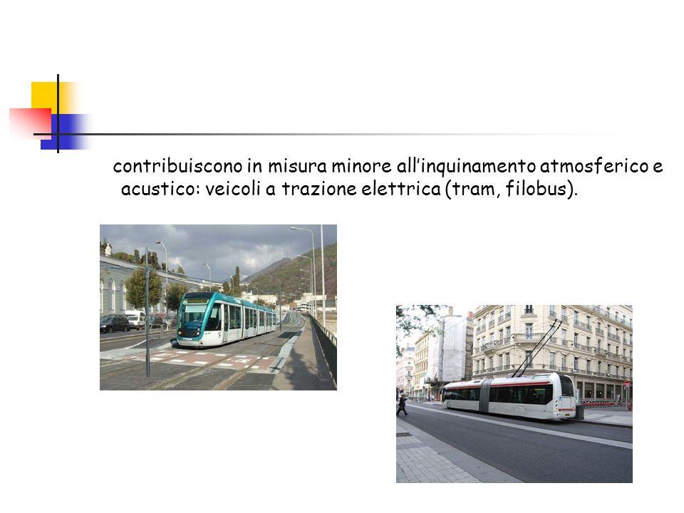contribuiscono in misura minore all'inquinamento atmosferico e acustico: veicoli a trazione elettrica (tram, filobus).