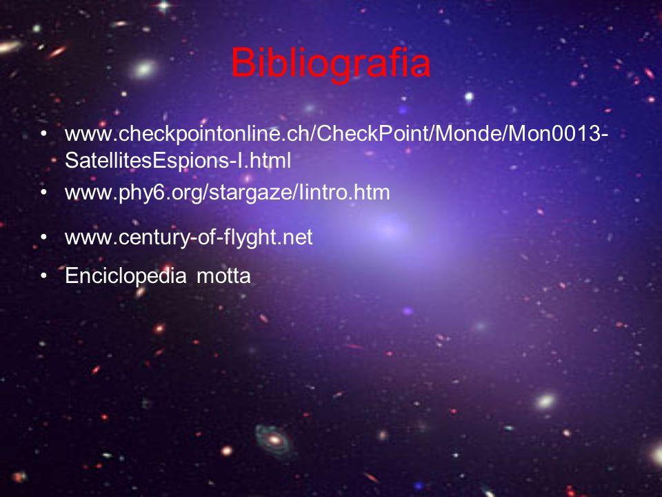 Bibliografia www.checkpointonline.ch/CheckPoint/Monde/Mon0013-SatellitesEspions-I.html. www.phy6.org/stargaze/Iintro.htm.